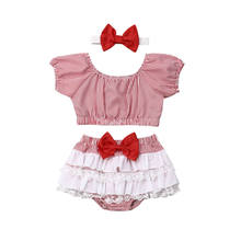 0-24M Cute Newborn Baby Girl Striped Tank Tops Lace Skirted Shorts Baby Bloomers Headband 3PCS Baby Clothing Set(China)