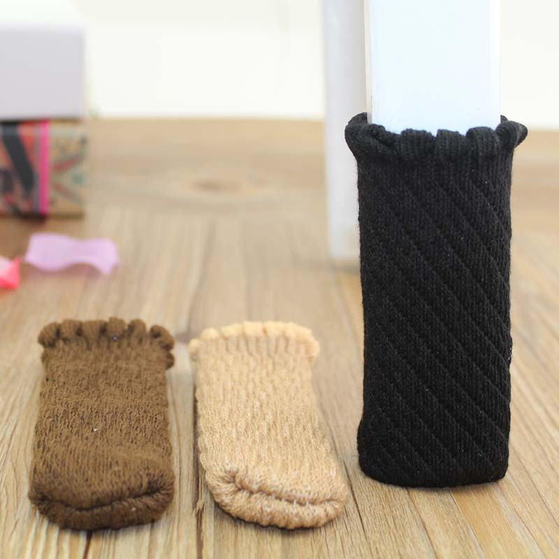 4pcslot Thickening Knit Anti Slip Mat Bumper Damper Cute Flower Furniture Leg Feet Rug Caps Pads Chair Leg Socks Table Protector