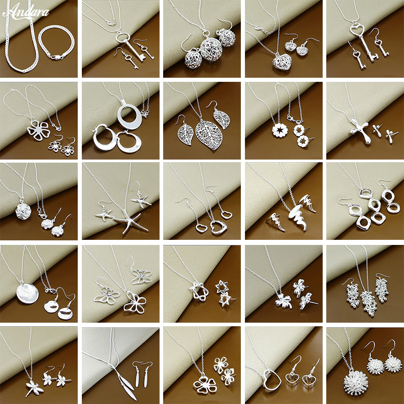 Trendy 925 Sterling Silver Jewelry Sets Simple Insect Moon Round Ball Necklace Earrings Sets Woman Gift