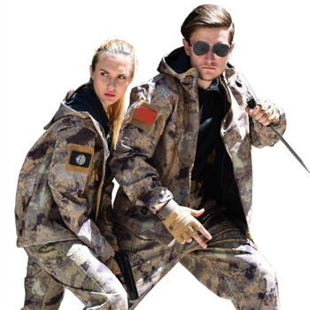 New Tactical Sharkskin Outdoor Camouflage Hunting Clothes Camping Waterproof Windproof Suits Hooded  Softshell Jacket+Pants