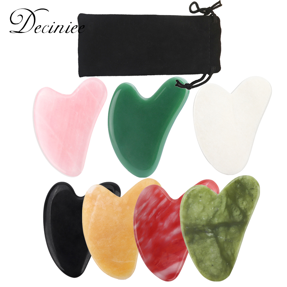 7 Color Jade Gua Sha Stone Massage Scraping Facial Tool for SPA Acupuncture Therapy Treatment Puffiness Tightening With Pouch
