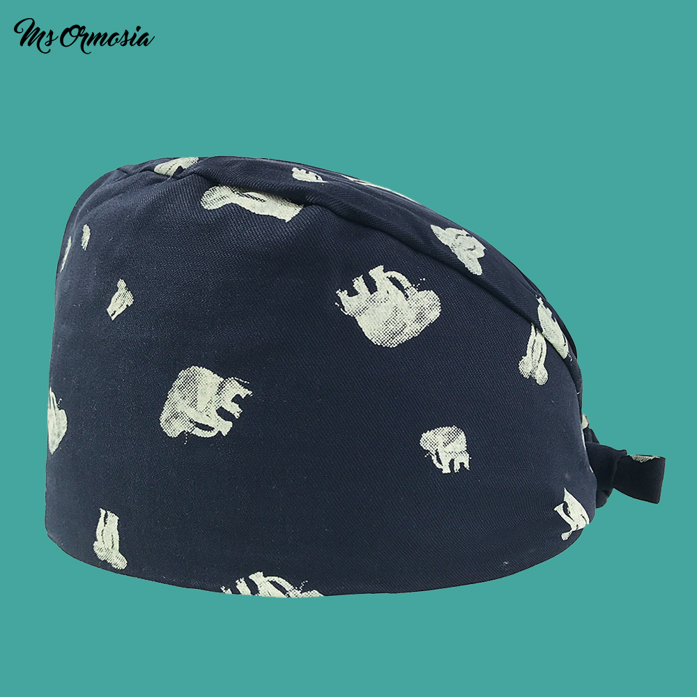 New Printing Breathable Scrub Caps For Women And MenPrint Tie Back Elastic Section Surgical Cap Hospital Medical Adjustable Hat