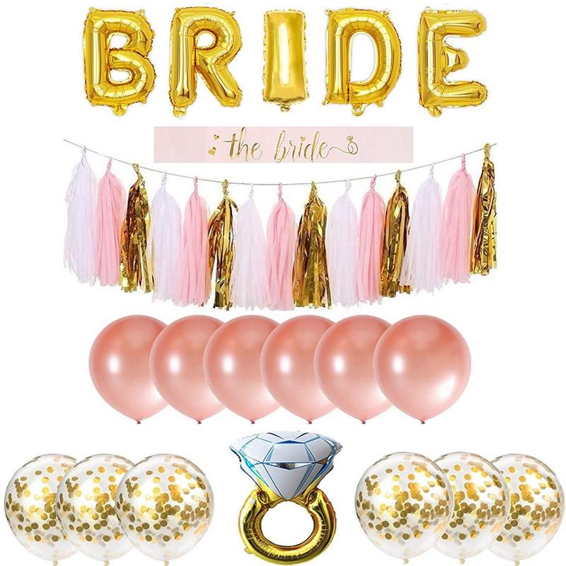 Bride To Be Banner Confetti Balloon Sash Bachelorette Party Decoration Diamond Ring Foil Ballon Set Straw Wedding Supplies
