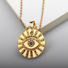 Paved CZ Stone Egypt Round Sun Necklace Stainless Steel Chain Luxury Evil Eye Necklaces Women Fashion Jewelry Gift Wholesale(China)