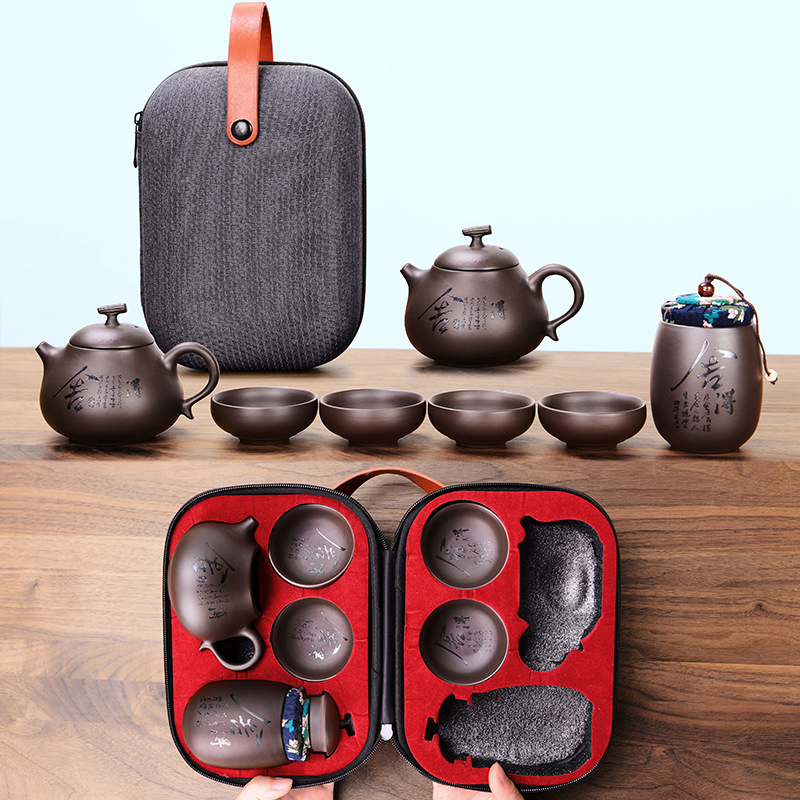 1Set Kung Fu Tea Set,Beautiful And Easy Teapot Kettle,Chinese Travel Ceramic Portable Teaset,Ceramic Tray Coffee Cup Gaiwan