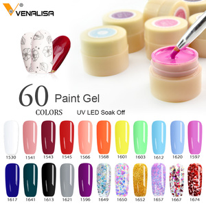 60 Solid Colors Nail Art Designs VENALISA 2020 Hot Sale Soak Off Paint Gel UV LED Ink Color Paint Gel Nail Varnish Gel Lacquer(China)