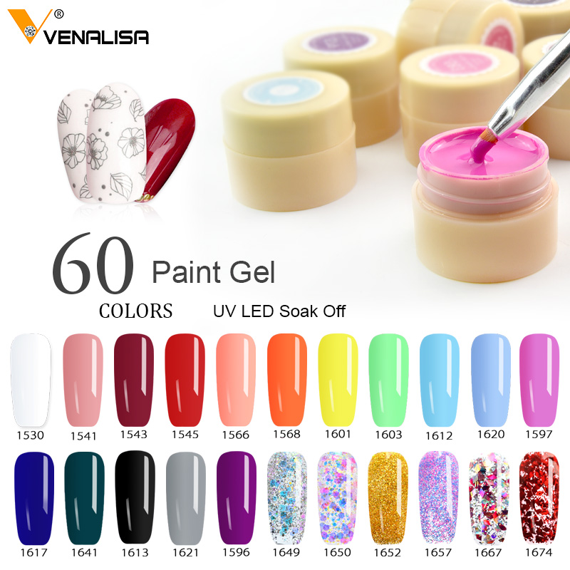 60 Solid Colors Nail Art Designs VENALISA 2020 Hot Sale Soak Off Paint Gel UV LED Ink Color Paint Gel Nail Varnish Gel Lacquer