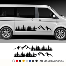 2PCS Car Door Side Stickers Mountain Forest Decal For Volkswagen VW Multivan TRANSPORTER T5 T6 Toyota Elfa Accessories