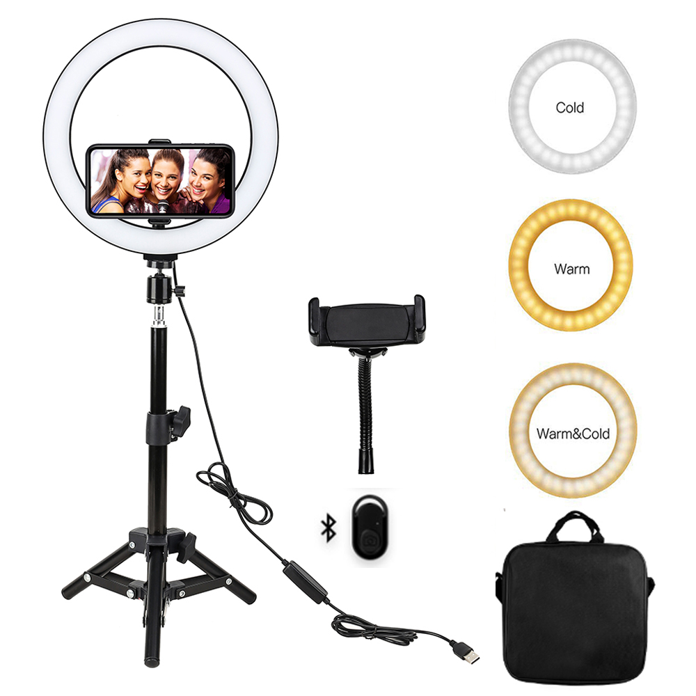 Video Light Dimmable LED Selfie Ring Light USB Ring Lamp With Tripod Stand Phone Holder For Smartphone Youtube Makeup Live Video