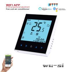 Termostato wifi do condicionamento de ar 2p com 0-10v regulado, trabalhando com o assistente do google, 24v, 95-240vac