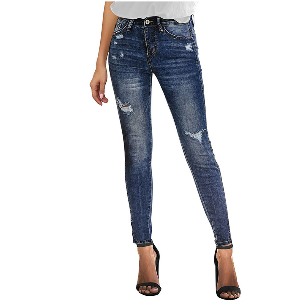 2020Jeans For Women Jeans High Waist Jeans Woman High Elastic Plus Size Stretch Jeans Washed Denim Skinny Pencil Pants джинсы