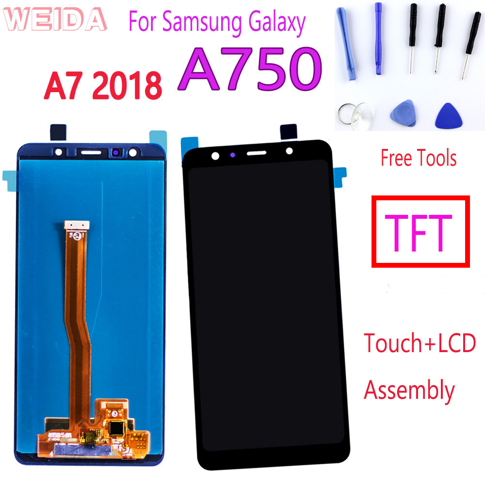 "6"" <font><b>Display</b></font> for <font><b>Samsung</b></font> <font><b>Galaxy</b></font> <font><b>A7</b></font> <font><b>2018</b></font> A750 SM-A750F A750F A750 A750F/DS LCD <font><b>Display</b></font> Touch Screen Digitizer Assembly Free Tools image"
