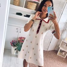 2020 Spring Summer Knit Cartoon Embroidered Polo Dress Woman Plus Size Black Casual Knee-length Straight Dresses Female