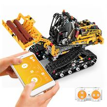Neue Technik Loader Motor RC Auto Verfolgt Loader Set Kompatibel Mit lepining RC Montage Gebäude Block Ziegel(China)