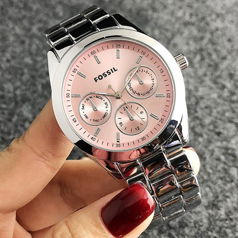 Fossil-quartzo vestido de pulso relógios femininos pulseira de aço prata relógio de reloj hombre feminino dropshipping 2021