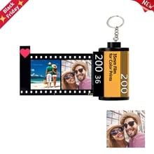 New Customized 10 Photos 2 Texts Memory Film Roll Keychain DIY Custom Album Keyring Personalized Wedding Anniversary Lovers Gift
