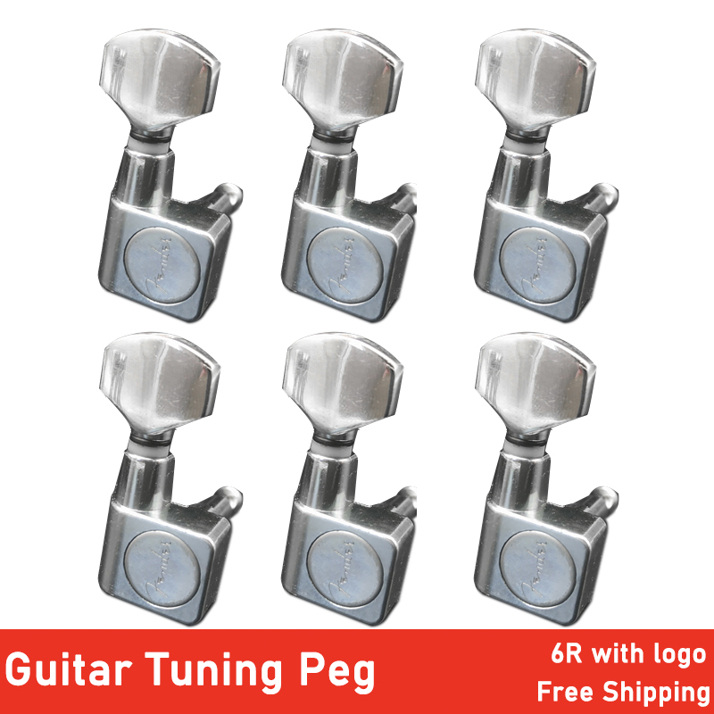 6R Square Guitarra Peg Locking String Guitar Tuning Pegs Key Tuner Machine Head For FD ST Electric Guitar Silver With Logo
