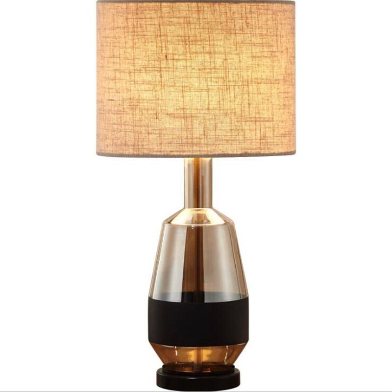 Modern Loft Amber Glass Dimmer Table Lamp for Bed Room Kind's Room Bar Fashion Simple Desk Reading Light H 55cm 2511