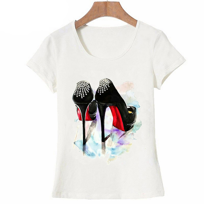 T-Shirt I Need A Simple Paris Red Shoes Shoe for My Party Women T Shirt Funny Art Design Tops Casual Tees Vintage Fashion Paris