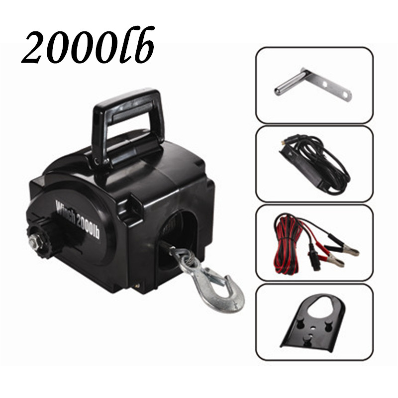 Winch 2000lbs Portable Boat / Yacht Electric Winch Rubber Boat Tractor Winch 12v