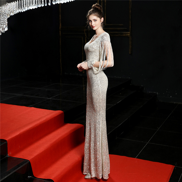 Sequined Mermaid Prom Dress Elegant V-Neck Women Party Dress DX254-4 2019 Plus Size Robe De Soiree Floor Length Evening Dresses 2