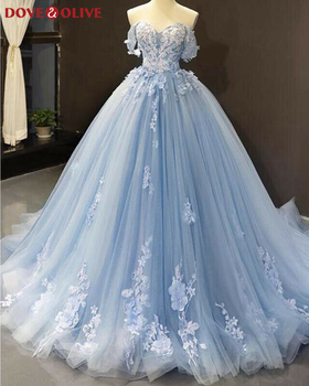 Elegant Sweetheart Neck Evening Dresses 2020 New Light Blue Off The Shoulder Appliques Formal Long Prom robe de soiree - sale item Special Occasion Dresses