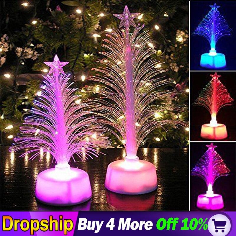 Hot LED Color Changing Mini Christmas Xmas Tree Merry Christmas Lighting Decoration Home Table Party Decor Charm