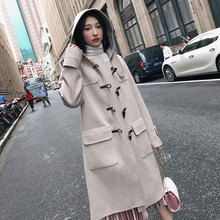 Solid Horn Buckle Women's Jacket Pockets Hooded Korean Women