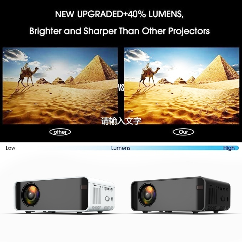 NEW type W80 HD Home Projector HDMI/AV/USB/SD/VGA Support Dolby Sound basic 2300 Lumens Euro Regulation - 2