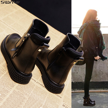 SWYIVY Women Shoe Black Short Martin Boots Women 2019 New Lady Casual Shoes Plat