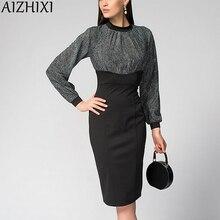 AIZHIXI panie elegancki rękaw kloszowy sukienka ołówkowa jesienna, drukowana Patchwork szczelina Hem płaszcza Bodycon sukienek kobiety Vestidos