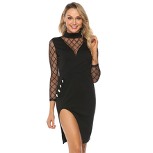 Gauze Designer Womens Dresses Solid Color Splity Bodycon Long Sleeve Sexy Clothing