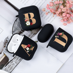 Cute Floral Gold Initial alphabet Letter AirPods Case For Airpod 2 Cases Silicone Wireless Bluetooth Earphone Cover Matte Black(China)