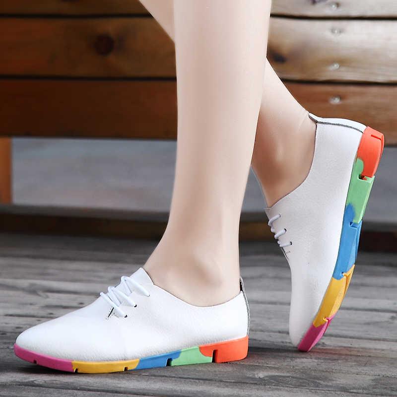 Plardin ผู้หญิงฤดูใบไม้ผลิแฟชั่น Comfort ของแท้หนังแบนผู้หญิงรองเท้า Slip บนหญิงสีเขียวมรกตรองเท้า zapatos mujer