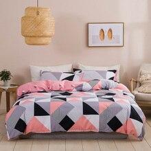 Classic bedding set 5 size grey blue grid summer bed linen 4pcs/set duvet cover set Pastoral bed sheet AB side duvet cover 2020 allover grid print sheet set