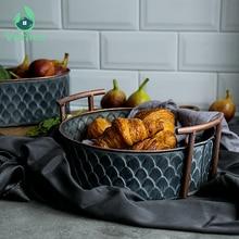 Cesta de hierro redonda Retro antigua con mango hecho a mano Vintage Metal fruta bandeja de pan placa decoración del hogar mesa de fotografía
