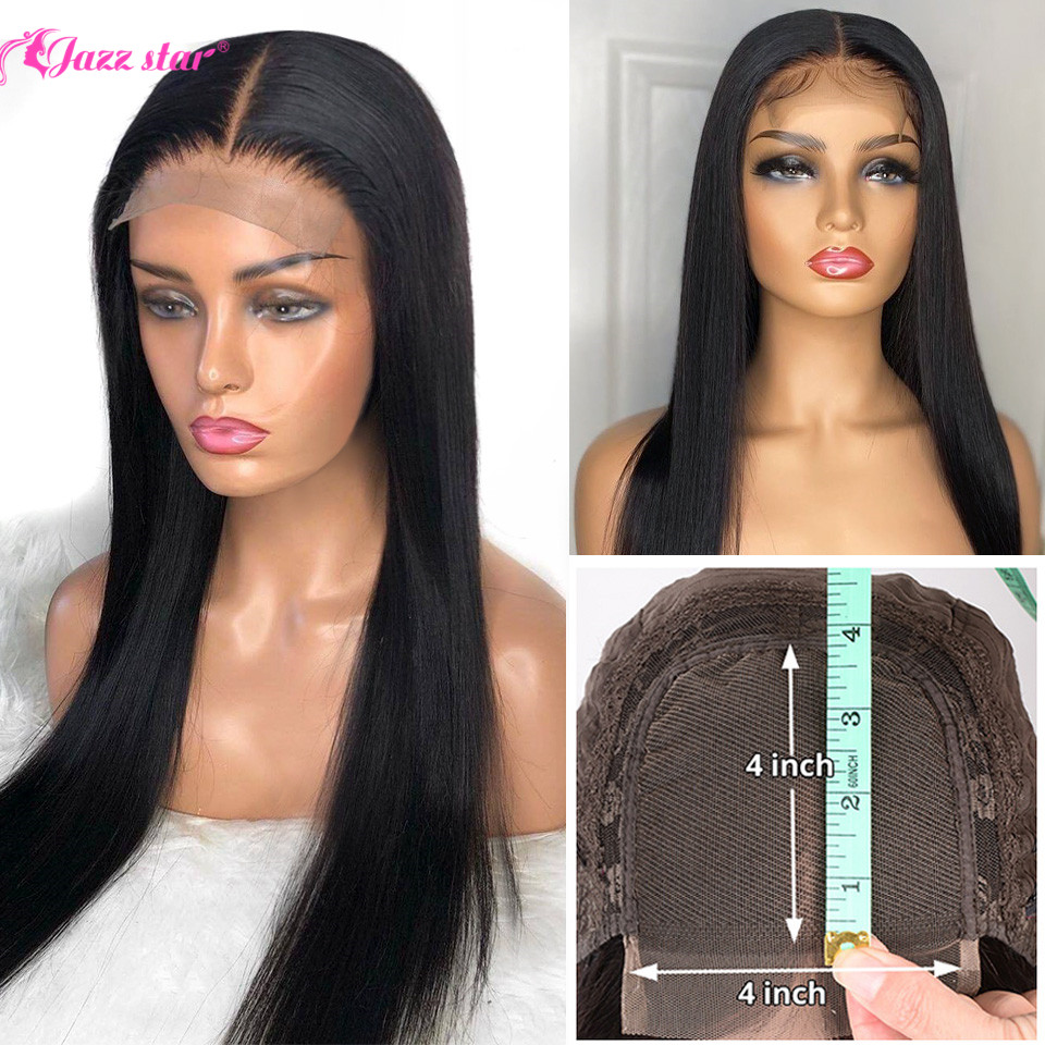 Permalink to -60%OFF Brazilian 4*4 Lace Closure Wig Straight Human Hair Wigs For Black Women Non-Remy Jazz Star 150% Density Lace Wig with Baby Hair