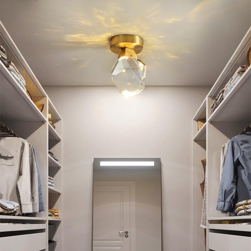 Pós-moderna minimalista ouro cobre de cristal luxo lâmpada do teto para vestiário corredor luz decoração interior luminárias