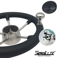 Sealux Stainless Steel 11 Steering Wheel with PU Foam, Black PC cap and knob for Marine Boat Yacht Fishing