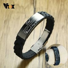 Vnox DAD Bracelets for Men Customize Stainless Steel Silicone Comfort Wear Band Personalize Father's Day Gift(China)