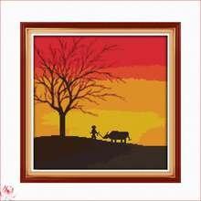 Набор для вышивки крестиком «Пейзаж заката» 14 карат 11