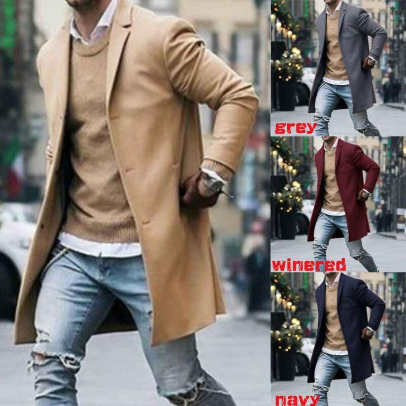 2019 패션 남자 긴 소매 캐주얼 코트 따뜻한 짙은 모직 Peacoat 가을 겨울 긴 오버 코트