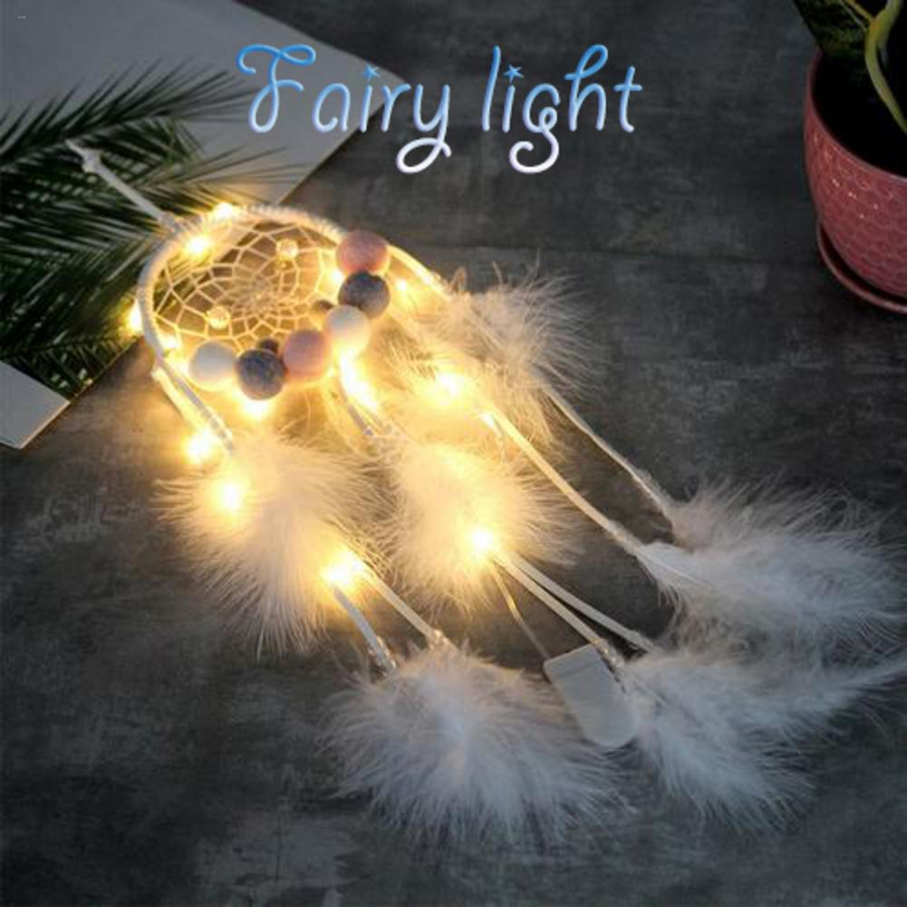 Dreamcatcher Night Light Fairy Night Lamp Warm Light Dream Catcher Light Hand Woven Ornaments For Christmas Tree Decorations