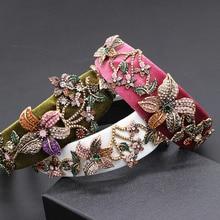Trompet persoonlijkheid luxe strass hoofdband Barokke mode strass grote bloem hoofdband paleis show bal hoofdband 849