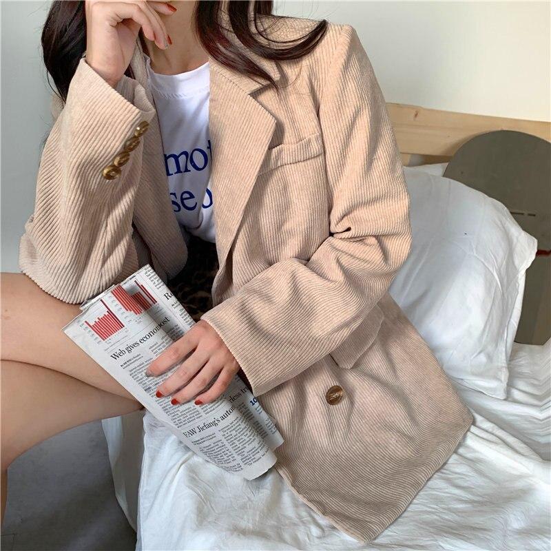 HziriP Casual Women Loose Autumn Vintage Gentle Fresh Feminine Corduroy 2020 All Match Leisure Elegance Chic Office Lady Blazers