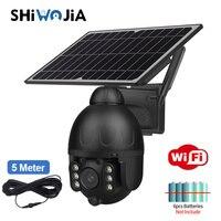 SHIWOJIA Solar al aire libre inalámbrica WIFI cámara de seguridad negro desmontable Solar Cámara batería CCTV PIR Video de vigilancia de teléfono