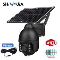 SHIWOJIA Outdoor Solar Kamera WIFI Drahtlose Sicherheit Schwarz Abnehmbare Solar Cam Batterie CCTV PIR Video Überwachung Telefon