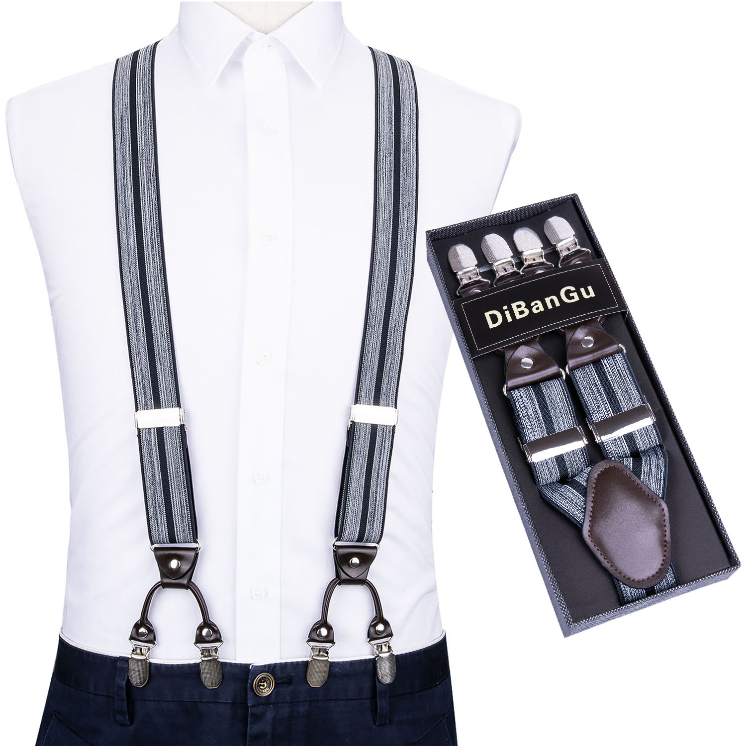 Fashion Suspenders Genuine Leather 6 Clips Brace Male Vintage Casual Wedding Party Trousers Men Navy Elastic Suspender DiBanGu