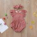 Комбинезоны без рукавов для младенцев, детей, наряд для маленьких девочек, хлопковый комплект, комбинезон с цветочным узором и рукавами-муш...