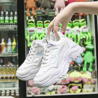 2019 White Sneakers Platform Ladies Brand Chunky Casual Shoes Woman Leather Sprots Shoes Autumn Wedges Dad Shoes Trainers Femme